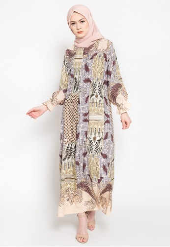 LISH beige and brown Elior Dress - Hazel Sky 1E57FAA314CA24GS_1