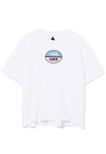 Mini cream white Like patch tee C0482AAE2BFAE9GS_1