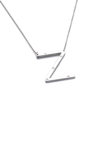 Glamorousky white Fashion Personality English Alphabet Z 316L Stainless Steel Pendant with Cubic Zirconia and Necklace 3E38DAC4FD49C9GS_1