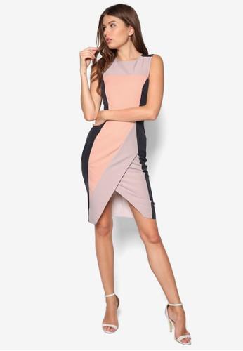 色塊裹zalora時尚購物網評價飾連身裙, 服飾, 洋裝