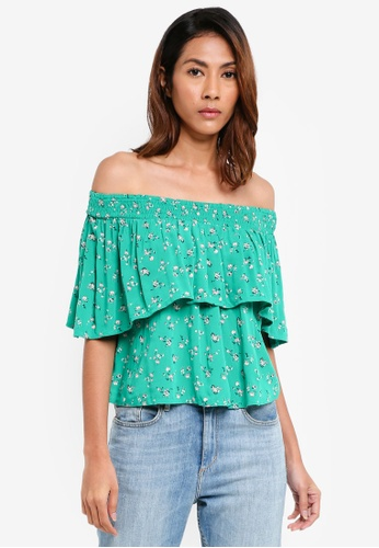 Hollister green Tiered Top 68A54AAAE028FAGS_1