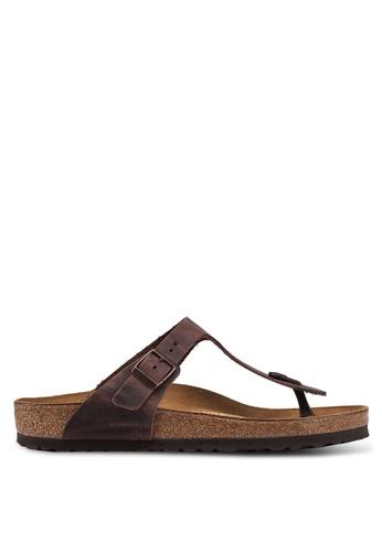 Birkenstock brown Gizeh FL Sandals B9162SH78B5B54GS_1