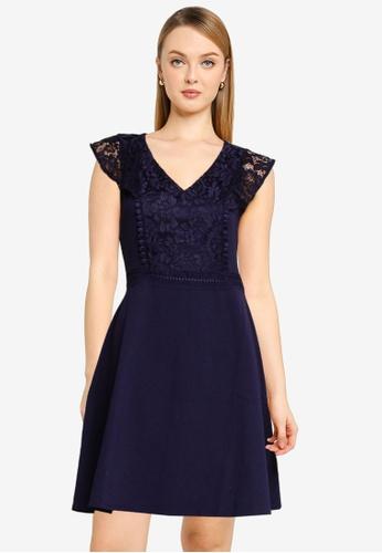 Dorothy Perkins blue Navy Ruffle V-Neck Skater Dress 24473AACC79D81GS_1