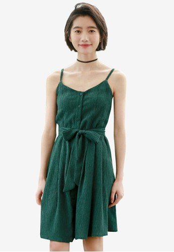 Shopsfashion green Sleeveless Fit And Flare Dress DD998AAF8B780EGS_1