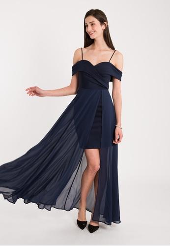 BEBEBUTTERFLY blue BebeButterfly Off Shoulder Chiffon Maxi Elegant Long Dinner Dress 4B5FCAADF0CD8BGS_1