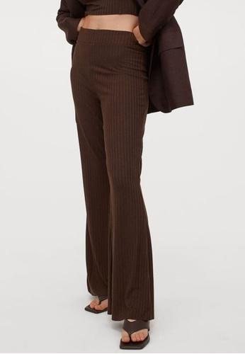 H&M brown Ribbed Trousers FCC0FAA1FA789CGS_1