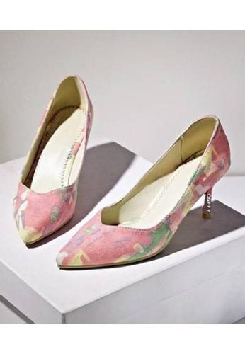 Sunnydaysweety pink and multi Women's High-heeled  Shoes Pointed Printing C032721PI SU443SH39HKEHK_1