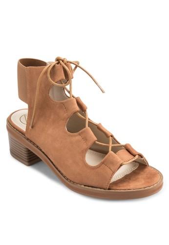 彈性繞踝繫帶粗跟涼鞋,esprit hk outlet 女鞋, 鞋