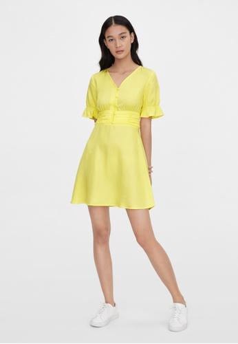 Pomelo yellow Purpose Cinched Short Sleeve Dress - Yellow 4A9C7AA1F4E7E3GS_1