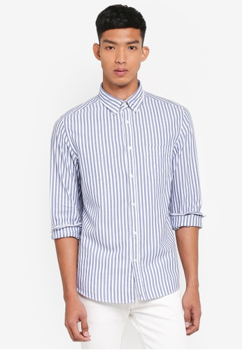 OVS white and blue and navy Striped Casual Shirts A6D7CAA757B4C9GS_1