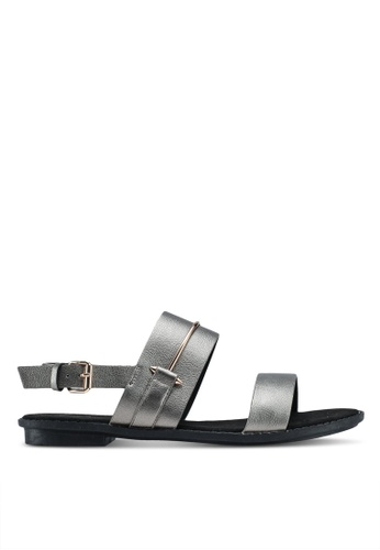 Something Borrowed grey Sandals With Metal Detail D9B9CSH50B4DDBGS_1