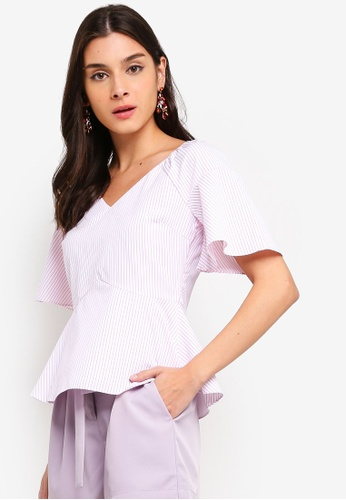 ZALORA 粉紅色 and 多色 Sweetheart Neckline Flare Sleeves Top 1865BAABEA57A3GS_1