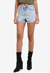 TOPSHOP blue MOTO Ripped Mom Shorts TO412AA0S7U1MY_1