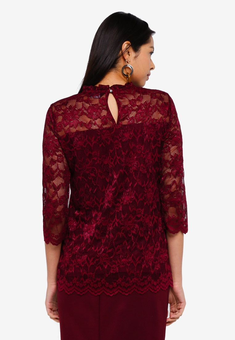 Perkins Dorothy 3 Wine Top 4 Lace Sleeve Red dTaTrWwq