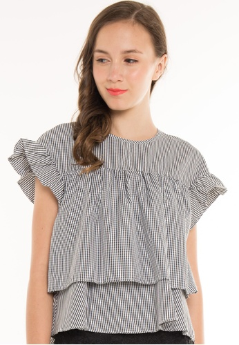 JOVET black and white Gingham Double Flounce Blouse JO914AA99SJKSG_1