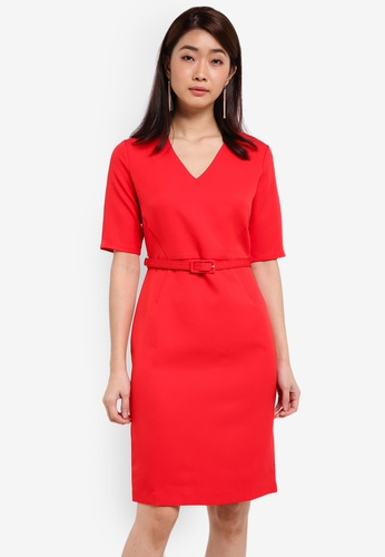 ZALORA red Tailored Belted Dress 44766AA699A7A1GS_1