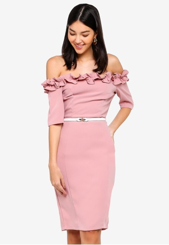 Paper Dolls pink Rose Bodycon Dress 6909CAA4FA7545GS_1