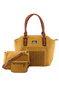 Laser Print Tote Bag With Sling Bag and Purse