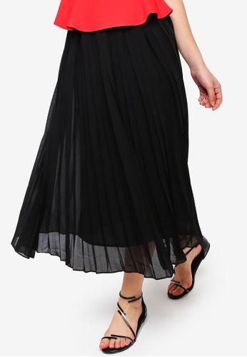 ZALORA black Pleated Midi Skirt 08D8DAA224CB18GS_1
