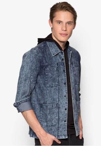口袋丹寧長袖襯esprit hk store衫, 服飾, 襯衫