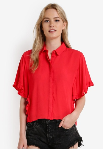 TOPSHOP red Frill Sleeve Shirt TO412AA44JXBMY_1