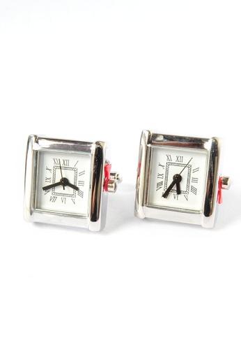Splice Cufflinks Silver Square Working Clock Cufflinks SP744AC44DOLSG_1