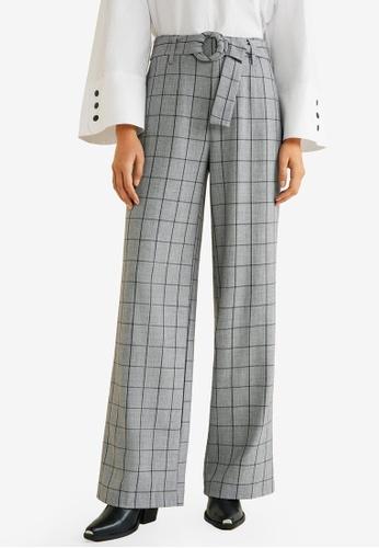 Mango grey Belt Straight-Fit Trousers 9D3F5AAAF83F3BGS_1