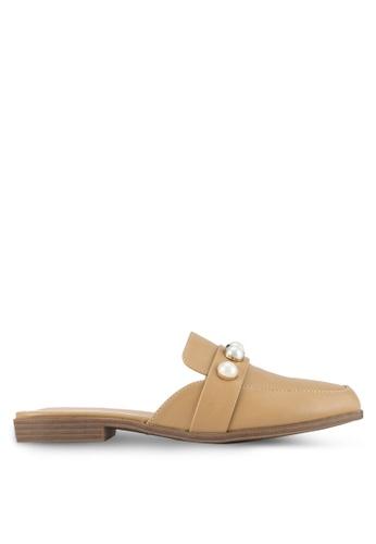 Something Borrowed brown Pearl Loafer Flat Sliders 0AEB9SH3A7D02CGS_1