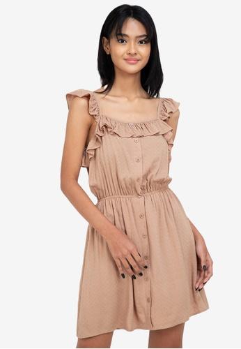 ZALORA BASICS beige Ruffle Detail Mini Dress 547A7AA0F0A58BGS_1