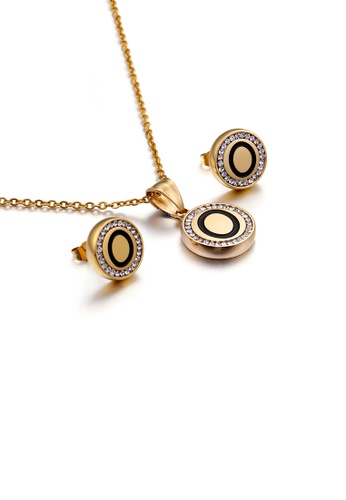 Glamorousky white Fashion and Simple Plated Gold English Alphabet O Geometric Round Cubic Zirconia with 316L Stainless Steel Necklace and Stud Earrings Set C5FA0AC09436BEGS_1