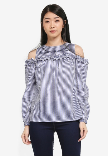 Dorothy Perkins navy Stripe Embroidered Cold Shoulder Top D27C8AA6AD4F00GS_1