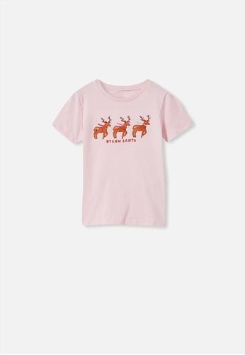 Cotton On Kids pink Stevie Short Sleeve Embellished Tee 66503KAAA77B95GS_1