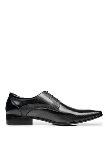 心電圖騰底。微壓紋。頭層牛皮德比鞋-045esprit 中文77-黑色, 鞋, 皮鞋