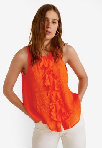 Mango orange Ruffled Texture Top FFE68AA7C2624DGS_1