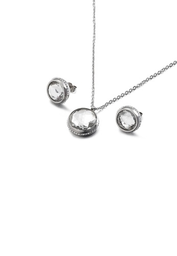Glamorousky white Fashion Temperament Geometric Round 316L Stainless Steel Necklace and Stud Earring Set with White Cubic Zirconia 99842AC3DDE2E3GS_1