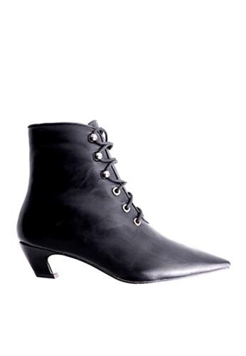 Twenty Eight Shoes 黑色 尖頭綁帶中筒靴 VB1002 A7082SHFFA30BEGS_1