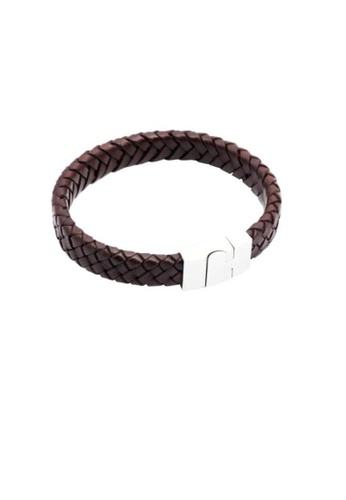 ADORA Stainless Steel Leather Bracelet AD365AC49GDUHK_1