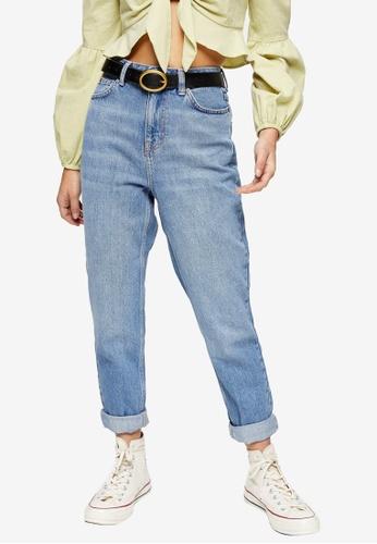 TOPSHOP blue Petite Mid Stone Mom Jeans 21B3FAA53F0B76GS_1