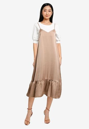 Heather brown 2 In 1 Midi Dress 9F4B4AAF315A64GS_1