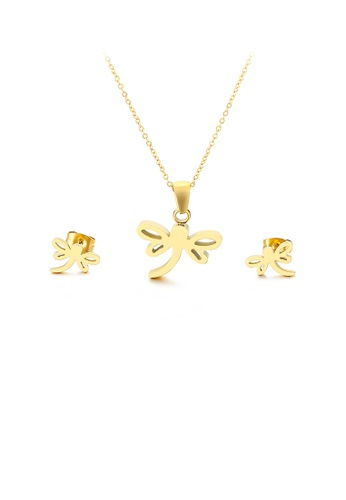 Glamorousky silver Fashion and Elegant Plated Gold Dragonfly 316L Stainless Steel Necklace and Stud Earrings Set 33900ACFFCFA4FGS_1