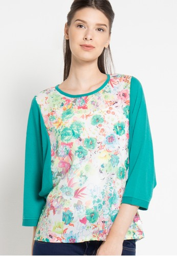 TRISET Ladies green Flower Printed Blouse 140 TR970AA45NHIID_1