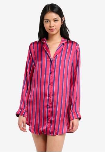 MISSGUIDED red Stripe Long Sleeve Shirt 93C39AA4EE7C46GS_1