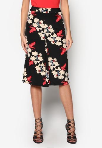 Iris 花卉前褶飾短裙, 服飾, 及膝zalora 評價裙