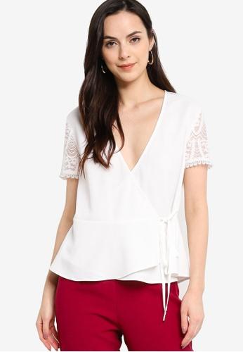 ZALORA WORK white Lace Sleeves Wrap Top 670BBAA9774A5DGS_1