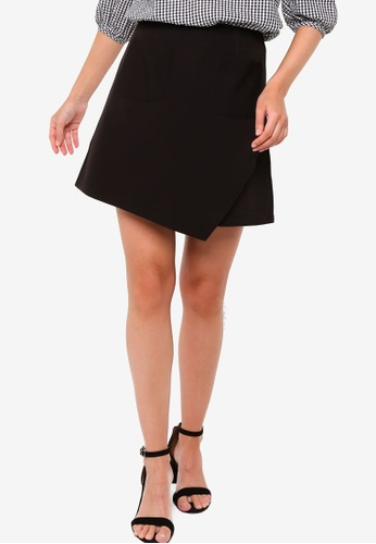 ZALORA WORK black Front Pocket Wrap Skirt B05A4AAB39AFD8GS_1