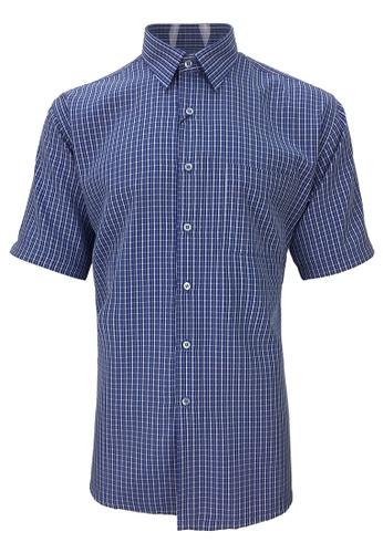 Pacolino blue Pacolino - Checker Formal Casual Short Sleeve Men Shirt 36248AAB3E69CBGS_1