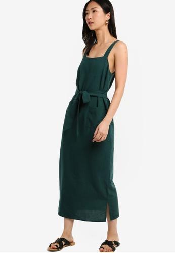 ZALORA BASICS green Basic Tie Straps Midi Dress F0736AA3389623GS_1