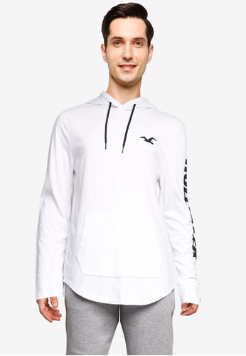 Hollister white Long Sleeve Iconic Print Hoodie D6717AAFD95591GS_1