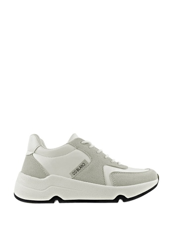 CO BLANC grey and white CO BLANC Dual-Tone Lace Up Sneakers 828BASH34C53BEGS_1