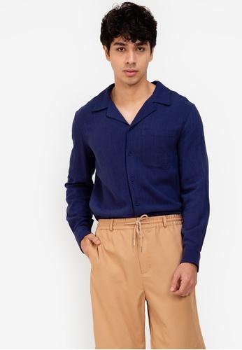 ZALORA BASICS navy Camp Collar Pocket Shirt AE664AA4055959GS_1